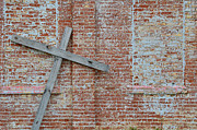 Tilted Posters - Brick Wall Cross Poster by Nikki Marie Smith