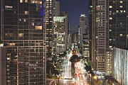 Long Street Framed Prints - Brickell Avenue, Downtown Miami, At Night Framed Print by Marcaux