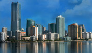 Miami Tapestries Textiles - Brickell Skyline 2 by Bibi Romer