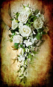 White Roses Framed Prints - Bridal Bouquet Framed Print by Meirion Matthias