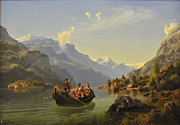 Fjord Paintings - Bridal journey in Hardanger by Tidemand and Gude