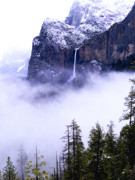 Scenic Pyrography Posters - Bridal Veil Falls in the Clouds Poster by Mark Wilburn