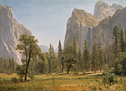 Pine Trees Painting Metal Prints - Bridal Veil Falls Yosemite Valley California Metal Print by Albert Bierstadt