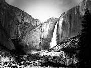 Fall Photographs Posters - Bridalveil Fall . Black and White Poster by Wingsdomain Art and Photography