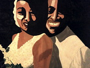 Bride Mixed Media Posters - Bride and Groom Poster by Cynthia Walker-Wiggins