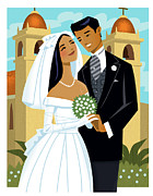 Front View Digital Art Framed Prints - Bride And Groom Framed Print by Harry Briggs