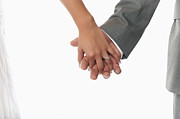 Man And Woman In Love Posters - Bride and Groom holding hands Poster by Andre Babiak