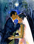 John Benson Paintings - Bride and Groom by John D Benson