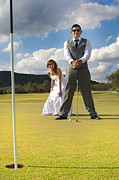 Man And Woman In Love Posters - Bride and Groom On the Golf Course Poster by Andre Babiak
