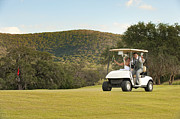 Man And Woman In Love Posters - Bride and Groom riding a golf cart Poster by Andre Babiak