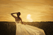 Sun Pastels Posters - Bride In Yellow Field On Sunset  Poster by Setsiri Silapasuwanchai