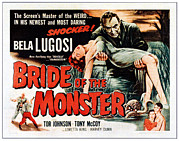 1950s Poster Art Framed Prints - Bride Of The Monster, Top Bela Lugosi Framed Print by Everett