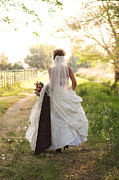 Bride Posters - Bride on Country Road Poster by Cindy Singleton