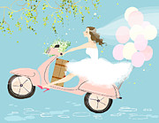 Holding Flower Digital Art Posters - Bride On Scooter Poster by Eastnine Inc.