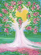 Gown Painting Originals - Brides Tree pink by First Star Art