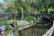 Tree And Water Posters - Bridge and Garden - Bakewell - Derbyshire Poster by Trevor Neal