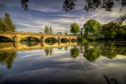Symmetry Art - Bridge And Sky Reflection In River by Philippe Saire - Photography