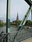 River Rhine Prints - Bridge and Steeple Print by Loud Waterfall Photography Chelsea Sullens