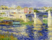 Boats On Water Framed Prints - Bridge at Chatou Framed Print by Pierre Auguste Renoir