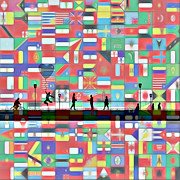 Flags Paintings - Bridge between the Nations by Stefan Kuhn