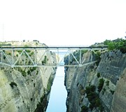 Neo-classical Framed Prints - Bridge Crossing Corinth Canal in Greece Framed Print by John A Shiron