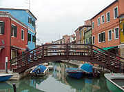 Water Color Digital Art Framed Prints - Bridge in Burano Italy Framed Print by Mindy Newman