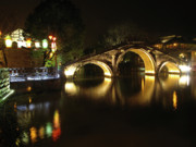 Illuminated Framed Prints - Bridge in Chinese Water Town Framed Print by Andrew Soundarajan