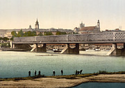 Iron Bridge Prints - Bridge in Warsaw Poland over the Vistula River - ca 1900 Print by International  Images