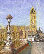Townscape Mixed Media - Bridge Inn and Parish Church Peebles by Richard James Digance