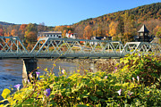 Deerfield River Metal Prints - Bridge of Flowers Morning Glory Autumn Metal Print by John Burk