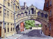 School Painting Framed Prints - Bridge of Sighs. Hertford College Oxford Framed Print by Mike Lester
