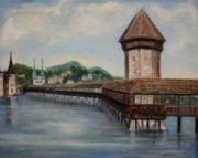 Town Pier Framed Prints - Bridge on Lake Lucerne Framed Print by Irene McDunn