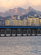 South Korea Prints - Bridge Over Han River In Seoul, South Korea Print by Copyright Michael Mellinger