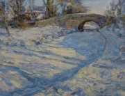 Snow-covered Landscape Painting Prints - Bridge over Lancaster Canal Print by James Swanson