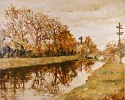 Indiana Autumn Painting Prints - Bridge Over the Canal Print by Addie May Hirschten