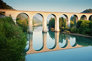 Arch Bridge Prints - Bridge Over The River Durance In Sisteron, France Print by Kirill Rudenko