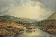Wales Paintings - Bridge over the Usk by Joseph Mallord William Turner