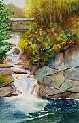 Franconia Notch Paintings - Bridge Over Traveled Water by Karen Fleschler