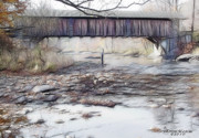 Covered Bridge Pyrography Prints - Bridge Over Troubled Waters Print by EricaMaxine  Price