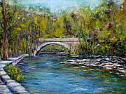 Architecture Pastels Acrylic Prints - Bridge Over Wissahickon Creek Acrylic Print by Joyce A Guariglia