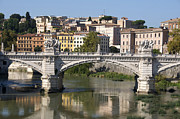 City Scapes Prints - Bridge Ponte Vittorio II. River Tiber.Rome Print by Bernard Jaubert