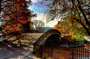 Blue And White Posters - Bridge to Autumns Beauty Poster by Byron Fli Walker