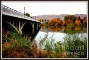 Autumn Scene Framed Prints - Bridge to Downtown Prosser Framed Print by Carol Groenen