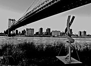 Steel Sculpture Framed Prints - Bridge with Scupture Framed Print by Allan Einhorn