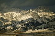 Winter Storm Prints - Bridger Mountains Rise Above Outskirts Print by Gordon Wiltsie