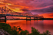 River Greeting Cards Photos - Bridges At Sunrise by Steven Ainsworth