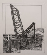 Cleveland Drawings Framed Prints - Bridges on the Cuyahoga Framed Print by Thomas  Ferguson