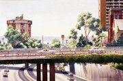 Highway Painting Posters - Bridges over Rt 5 Downtown San Diego Poster by Mary Helmreich