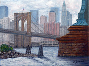 Fdr Drive Prints - Bridges To Manhattan Print by Victor Zucconi