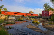 Indiana Autumn Prints - Bridgeton Covered Bridge and Mill no 3 Print by Alan Look